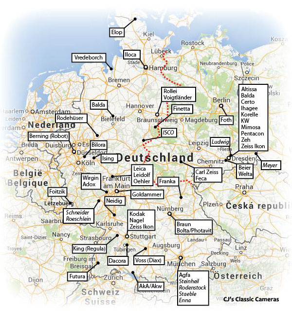 Karlsruhe Map Of Germany.German Camera Manufacturing Map